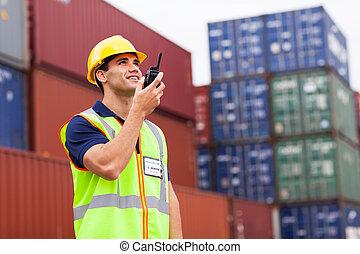 port, mówiąc, walkie-talkie, pracownik