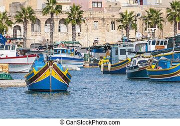 port, malta., marsaxlokk, tradycyjny, luzzu, łódka