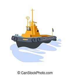 port, marin, vagues, jaune, dampers, sillage, remorqueur, ...