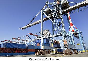 port maritime, fret, -, expédition, cargaison