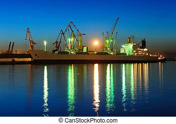 port maritime, nuit