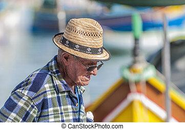 port, marsaxlokk, wieś, wędkarski, malta.