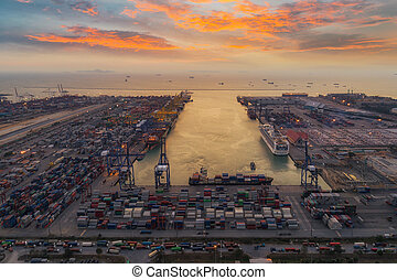 port, mer, logistique