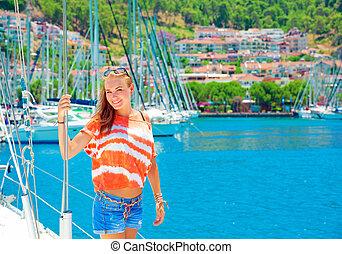 port, mignon, girl, yacht