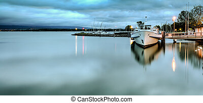 port, morat, lac, matin, tôt, calme, suisse