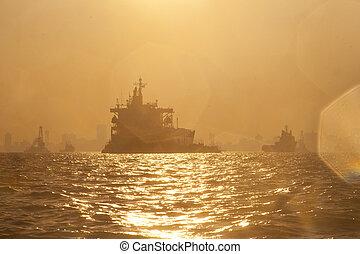 port, mumbai, bateau, inde, coucher soleil