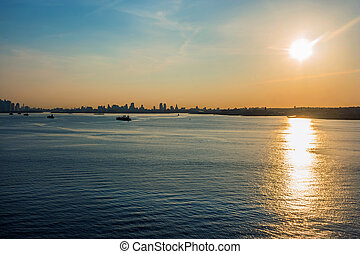 port, new york, levers de soleil