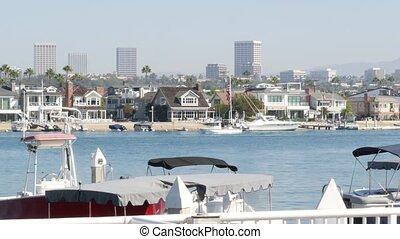 port, newport, propriété, banlieue, coûteux, recours, vrai, marina, plage, pacifique, orange, luxe, côte, yachts, voiliers, beachfront, week-end, county., destination, usa., front mer, vacances, californie