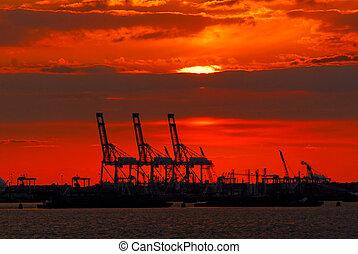 port, nouveau, coucher soleil, york