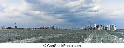 port, nowy, sylwetka na tle nieba, york