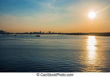 port, nowy york, wschód słońca