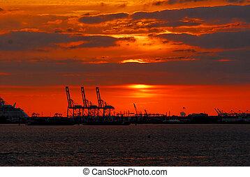 port, nowy, zachód słońca, york