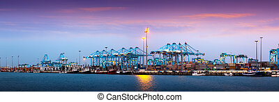 Port of Algeciras - one of largest ports in Europe - Evening...