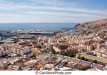 Port of Almeria - View of the port of Almeria from the...
