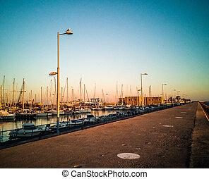 Port of Burriana at sunset