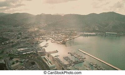 Port of Cartagena in the morning, Spain. Aerial view