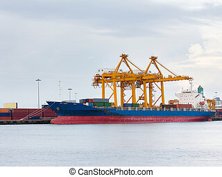 Port of container cargo freight ship with working crane bridge