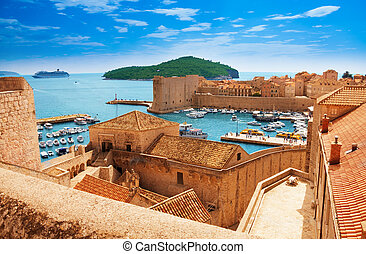Port of Dubrovnik from the old city walls
