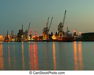 Port of Gdansk at night