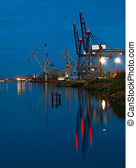 Port of Gdynia at night.