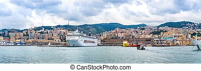 Port of Genoa in Italy - Panoramic view port of Genoa in a...