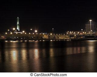 port of Genova by night