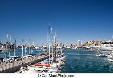 Port of Genova - seafront of Genoa from the marina in a...