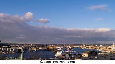 Port of Gothenburg at sunset. Sweden. TimeLapse