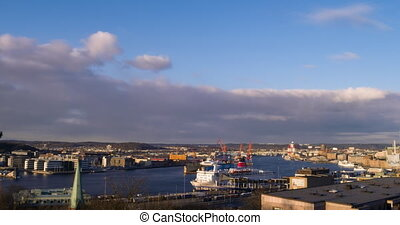 Port of Gothenburg, the transition day-night. Sweden. Time...