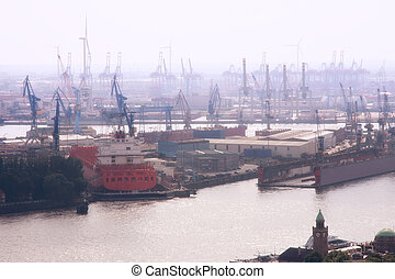 Port of Hamburg in the fog, Germany