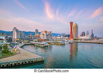 Port of Kobe skyline in Japan