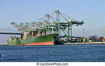 Port of Long Beach California industrial facility. - Cargo...