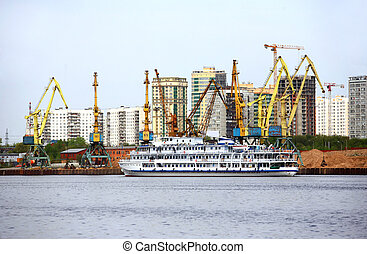 Port of Moscow - Machines on development of sand on a...