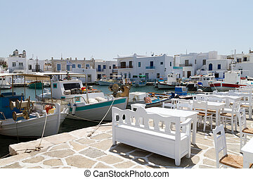 port of Naoussa, Paros island , Greece - View of the port of...