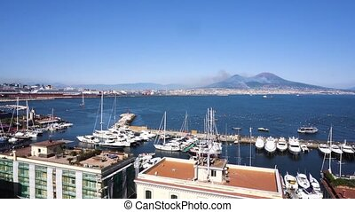 Naples and Vesuvius volcano, Italy - Port of Naples and...