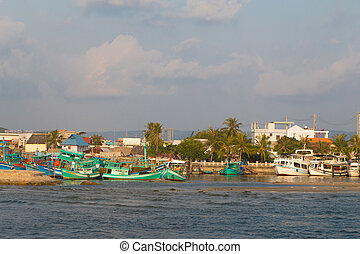 seaport on the island of Phu Quoc before sunset, Vietnam