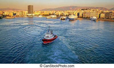Port of Piraeus and Athens, Greece Skyline, logos removed