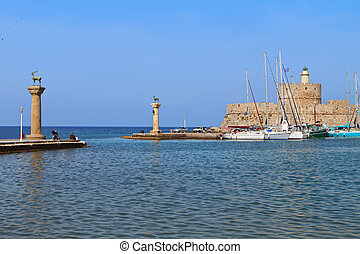 Port of Rhodes island in Greece.