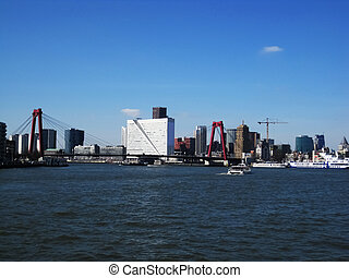 Port of Rotterdam - View from the canal over the red bridge...