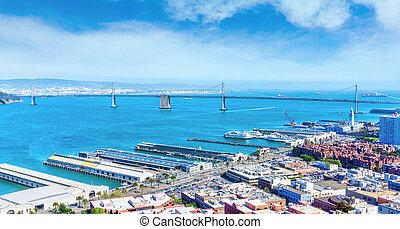 Port of San Francisco and Bay Bridge at The Embarcadero