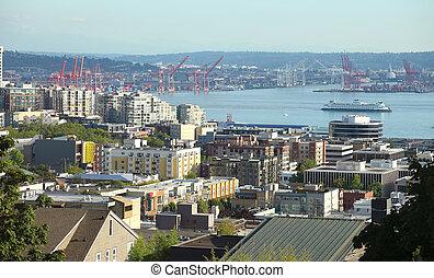 Port of Seattle and surroundings, Washington state.