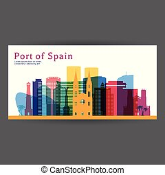 Port of Spain colorful architecture vector illustration,...
