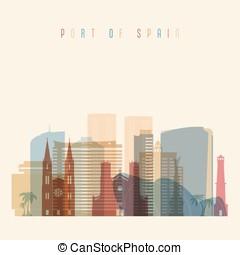 Port of Spain skyline detailed silhouette. Transparent...