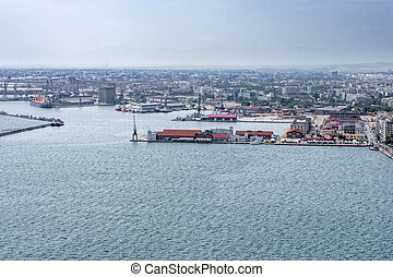 Port of Thessaloniki, Greece, aerial view