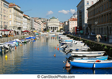 Port of Trieste - Colorful boats swaying in the port of...