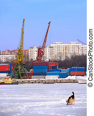 Port on frozen river