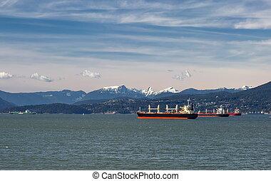 port, pétroliers, vancouver, océan