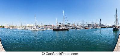 port, panorama, bateaux, barcelona.