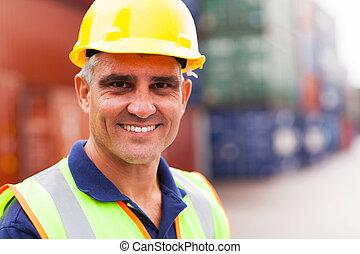 port, personne agee, ouvrier