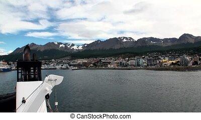 Port pier of Ushuaia on Tierra del Fuego in Argentina....